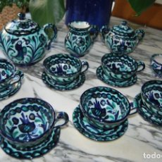 Antigüedades: JUEGO DE CAFÉ - 6 SERVICIOS - CERÁMICA DE FAJALAUZA - GRANADA - AÑOS 60 - TETERA, JARRA, AZUCARERO... Lote 211638400