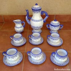 Antigüedades: JUEGO DE CAFÉ DE CERÁMICA DE TALAVERA. Lote 211674076