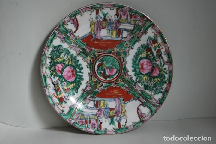 Antigüedades: PRECIOSO PLATO DE PORCELANA MACAO - SELLO EN LA BASE - PINTADO A MANO - 25 CM - MACAU - Foto 2 - 211676433