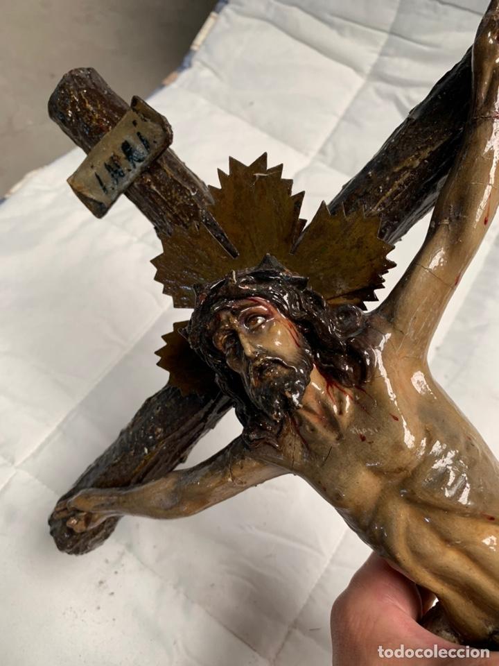 ANTIGUO CRISTO CRUCIFICADO OLOT (Antigüedades - Religiosas - Crucifijos Antiguos)