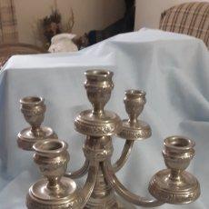 Antigüedades: CANDELABRO 5 BRAZOS BAÑO DE PLATA. Lote 211700354