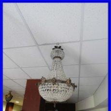Antigüedades: IMPORTANTE LAMPARA DE CRISTALES Y BRONCE ENVEJECIDO ALTURA 70 CM. Lote 211705764