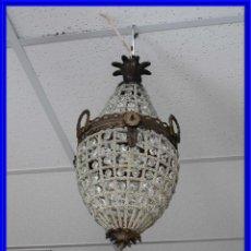 Antigüedades: FAROL GLOBO O LAMPARA DE TECHO CON CRISTALES DE BRONCE ENVEJECIDO. Lote 211719400