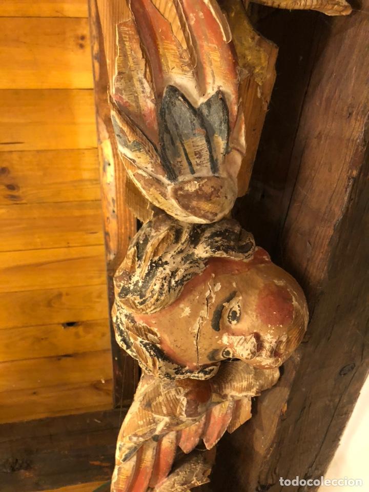 Antigüedades: Antiguo siglo XVII fragmento original de retablo volutas sobredorado y busto de ángel. Policromado - Foto 8 - 211722059