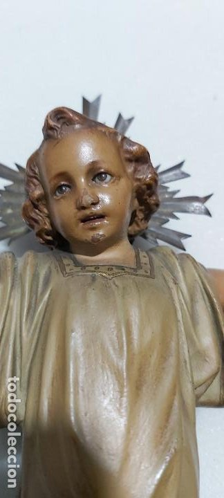 Antigüedades: Figura antigua niño Jesús en la cruz de olot - Foto 3 - 211727269