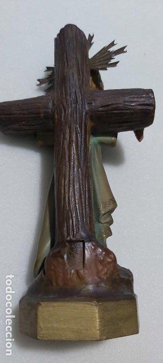 Antigüedades: Figura antigua niño Jesús en la cruz de olot - Foto 6 - 211727269