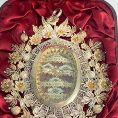 Antigüedades: RELICARIO DE PLATA EN FILIGRANA Y ORO, CON 5 RELIQUIAS. ROMA. S.XIX.. Lote 211757446