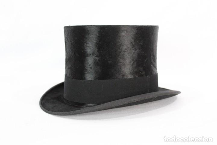 Antigüedades: Chistera de piel de foca, sombrero fines s XIX Gasol Barcelona - Foto 5 - 211777160