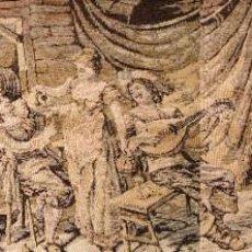 Antigüedades: ANTIGUO TAPIZ ESTILO FLANDES CON ESCENAS DE TABERNA MEDIDAS 137X48. Lote 211798705