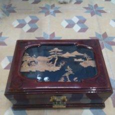 Antigüedades: CAJA JOYERO CHINA CON DIORAMA EN CORCHO. Lote 211871922