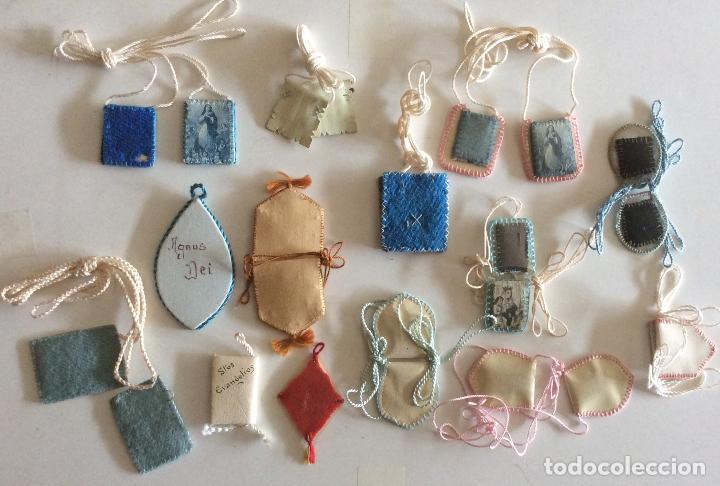 Antigüedades: Conjunto de 14 Escapularios de pequeño tamaño,Ideal coleccionistas - Foto 2 - 211920201