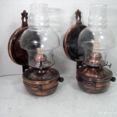 Antigüedades: PAREJA DE LAMPARAS DE ACEITE -COMPLETAS Y SIN USO - QUINQUES CANDIL PETROLEO PARAFINA FAROL. Lote 211920411