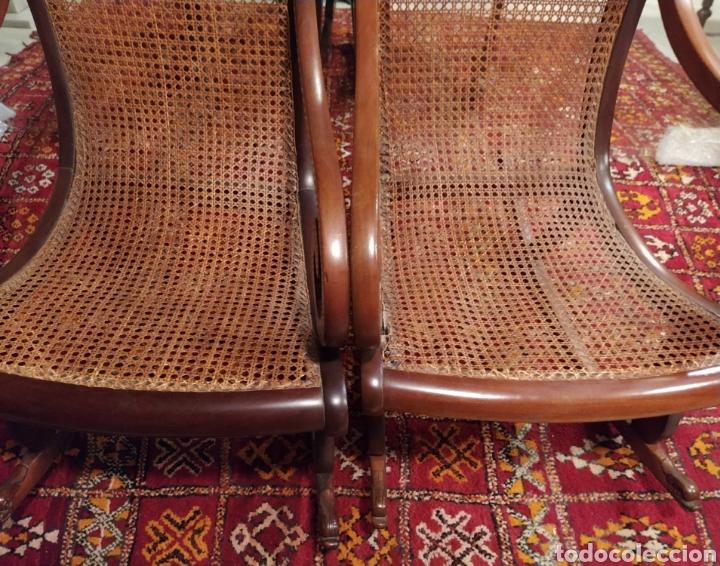 Antigüedades: Bonita pareja de mecedoras fernandinas. Primer tercio siglo XIX. En madera de caoba. - Foto 4 - 211921283
