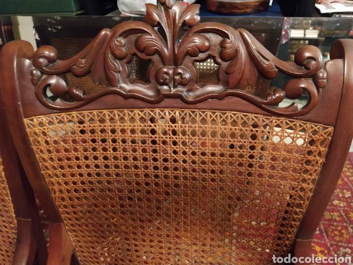 Antigüedades: Bonita pareja de mecedoras fernandinas. Primer tercio siglo XIX. En madera de caoba. - Foto 6 - 211921283