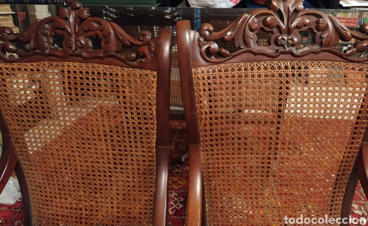 Antigüedades: Bonita pareja de mecedoras fernandinas. Primer tercio siglo XIX. En madera de caoba. - Foto 9 - 211921283