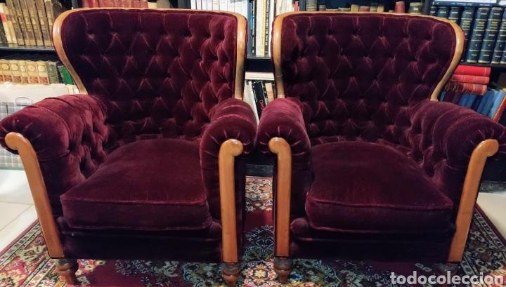 Antigüedades: Bonita pareja de sillones Chester. Siglo XIX. - Foto 3 - 211921998