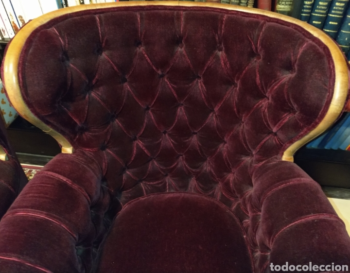 Antigüedades: Bonita pareja de sillones Chester. Siglo XIX. - Foto 4 - 211921998