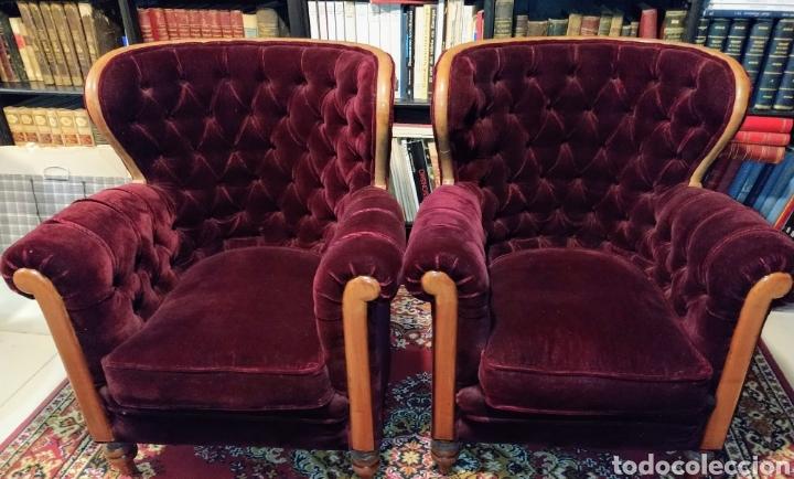 Antigüedades: Bonita pareja de sillones Chester. Siglo XIX. - Foto 8 - 211921998