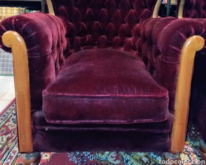 Antigüedades: Bonita pareja de sillones Chester. Siglo XIX. - Foto 10 - 211921998