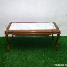 Antiguidades: MESA CENTRO DE SOFÁ DE MADERA Y MARMOL.41 X 93 X 45 CM.. Lote 211937412