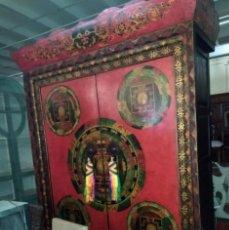 Antigüedades: GRAN ARMARIO TIBETANO, POLICROMIA DE ALTA CALIDAD. Lote 211971650