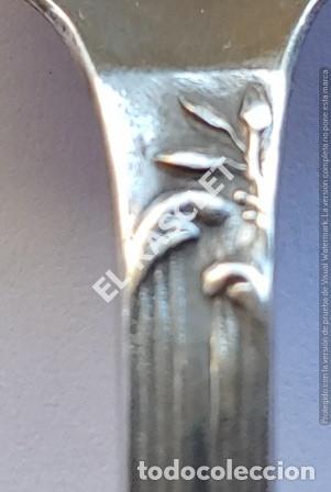 Antigüedades: ANTIGÚA CUCHARA Y TENEDOR EN PLATA A. PALLE GRABADOS - Foto 4 - 212003915