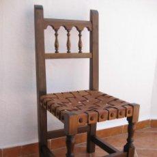 Antigüedades: SILLA MADERA Y CUERO. TIPO CASTELLANA.. Lote 212004668
