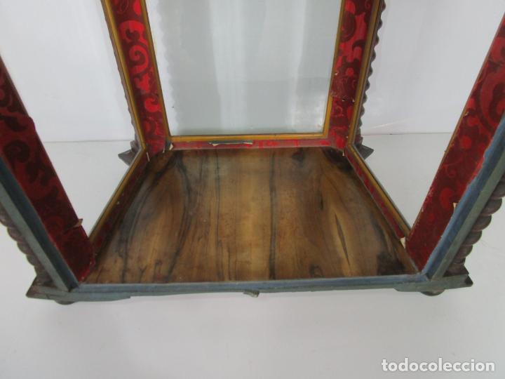 Antigüedades: Preciosa Capilla Carlos IV - Vitrina para Virgen, Santo - Madera Tallada y Dorada - S. XVIII-XIX - Foto 21 - 212005551