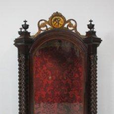 Antigüedades: PRECIOSA CAPILLA CARLOS IV - VITRINA PARA VIRGEN, SANTO - MADERA TALLADA Y DORADA - S. XVIII-XIX. Lote 212005551