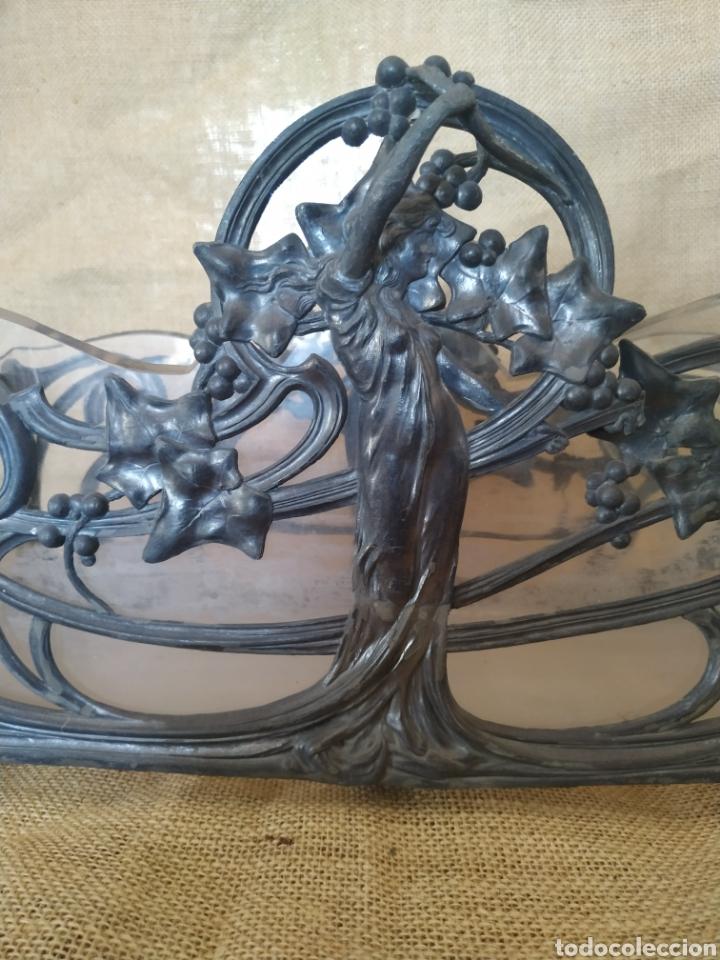 Antigüedades: Jardinera modernista en estaño y cristal .Circa 1900 - Foto 11 - 212011301