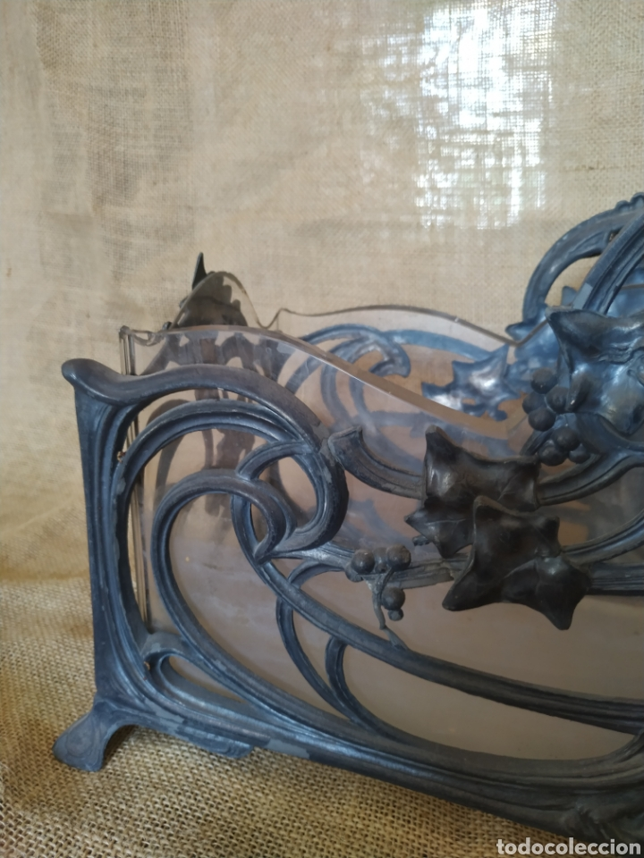 Antigüedades: Jardinera modernista en estaño y cristal .Circa 1900 - Foto 22 - 212011301