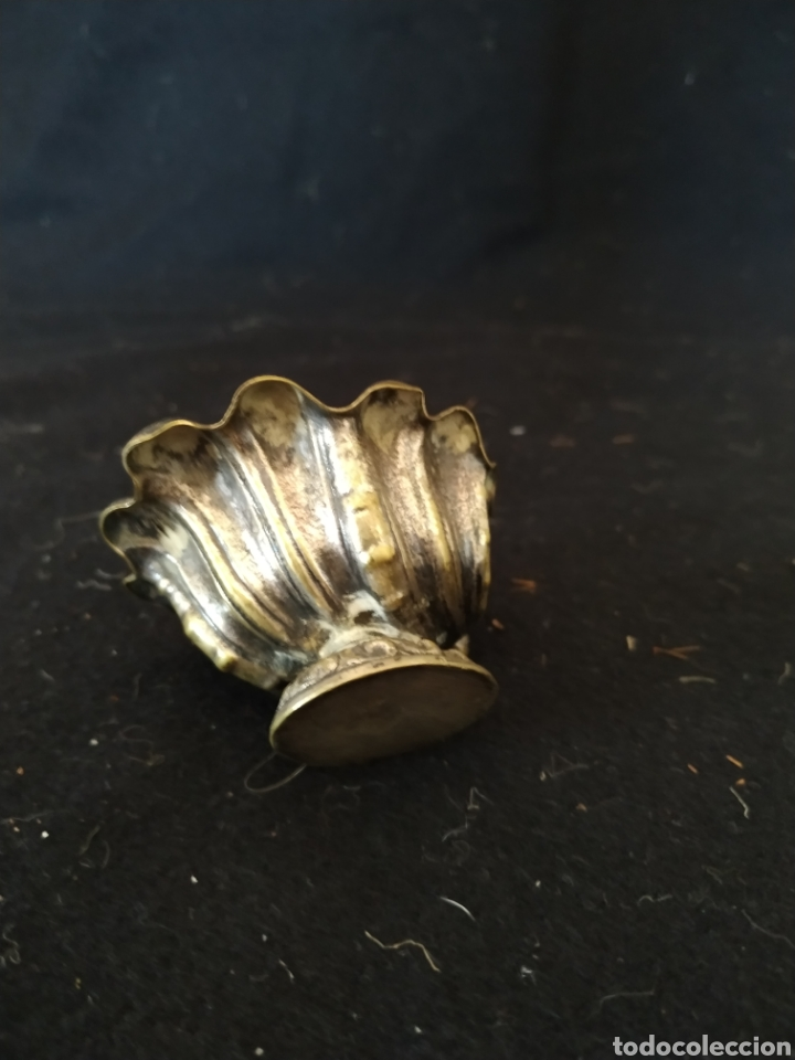 Antigüedades: Salero de pellizco .Metal plateado - Foto 8 - 212022566
