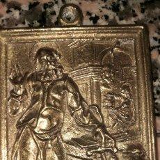 Antigüedades: PLACA EN BRONCE PORTA PAZ RELIGIOSA. Lote 212037042