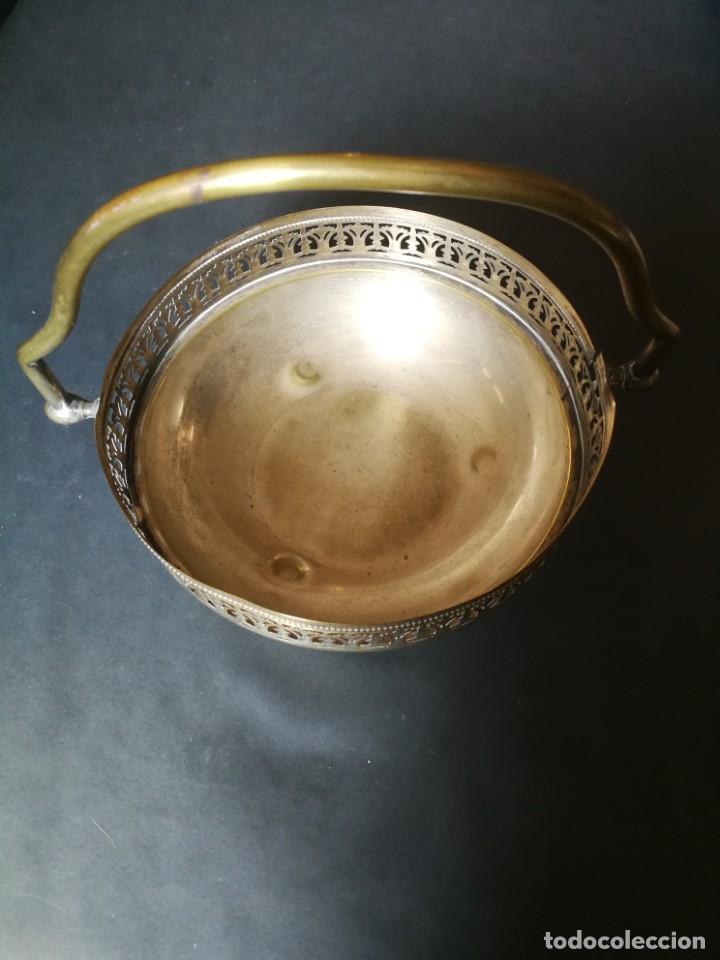 Antigüedades: Cesto antiguo metálico - Foto 2 - 212090745