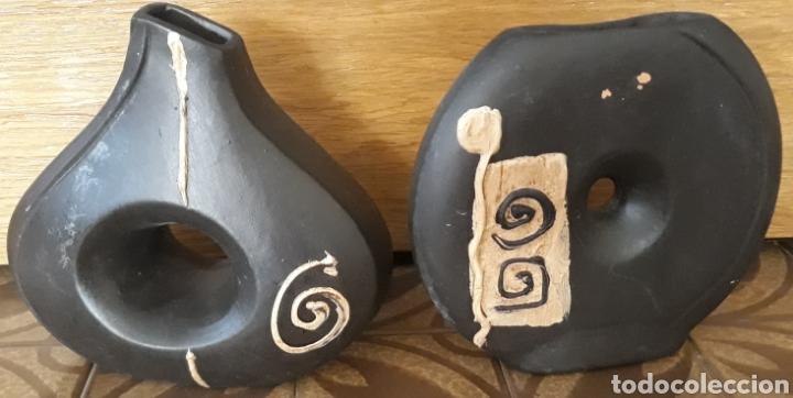 PAREJA JARRONES BARRO ART DECO (Antigüedades - Hogar y Decoración - Jarrones Antiguos)
