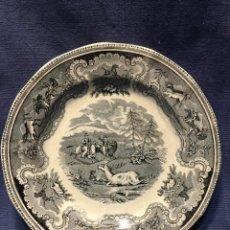 Antiquités: PLATO LLANO FABRICA DE CARTAGENA LA AMISTAD SIN MARCAS CAZA CIERVO HERIDO TOROS S XIX XX 22,5CMS. Lote 212180427