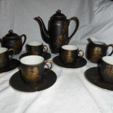Antigüedades: JUEGO DE CAFE EN PORCALAN NEGRA MADE IN JAPAN CUÑO NEGRO S MADE IN JAPAN. Lote 212180743
