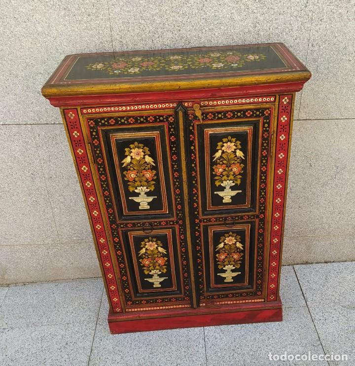 Antigüedades: Aparador, mueble auxiliar policromado oriental, indu - Foto 2 - 212187896