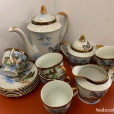 Antigüedades: JUEGO DE CAFE PORCELANA FINA, JAPON 6 SERVICIOS. CARA DE GEISHA EN EL FONDO DE TAZAS AL TRASLUZ.. Lote 212198775