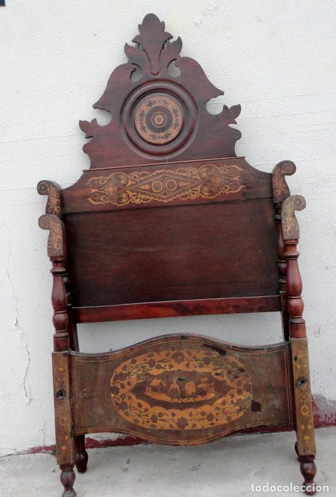 Antigüedades: Cama Fernandina en madera de caoba con marqueteria - Foto 3 - 212206882