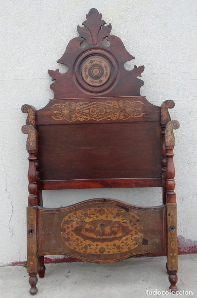 Antigüedades: Cama Fernandina en madera de caoba con marqueteria - Foto 4 - 212206882