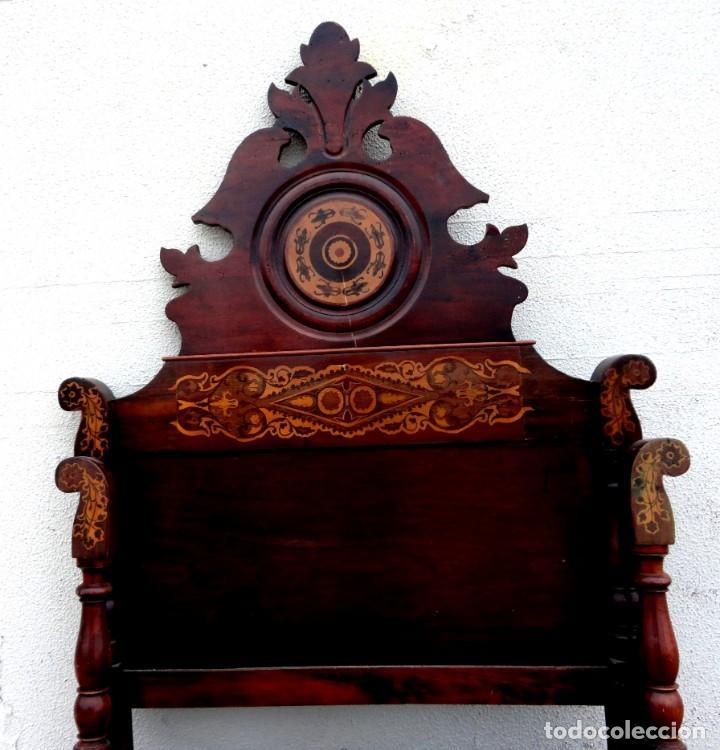 Antigüedades: Cama Fernandina en madera de caoba con marqueteria - Foto 6 - 212206882