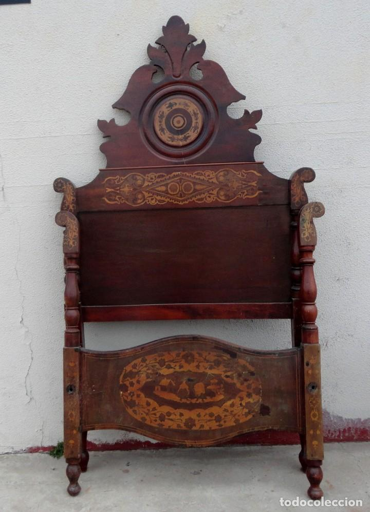 Antigüedades: Cama Fernandina en madera de caoba con marqueteria - Foto 7 - 212206882