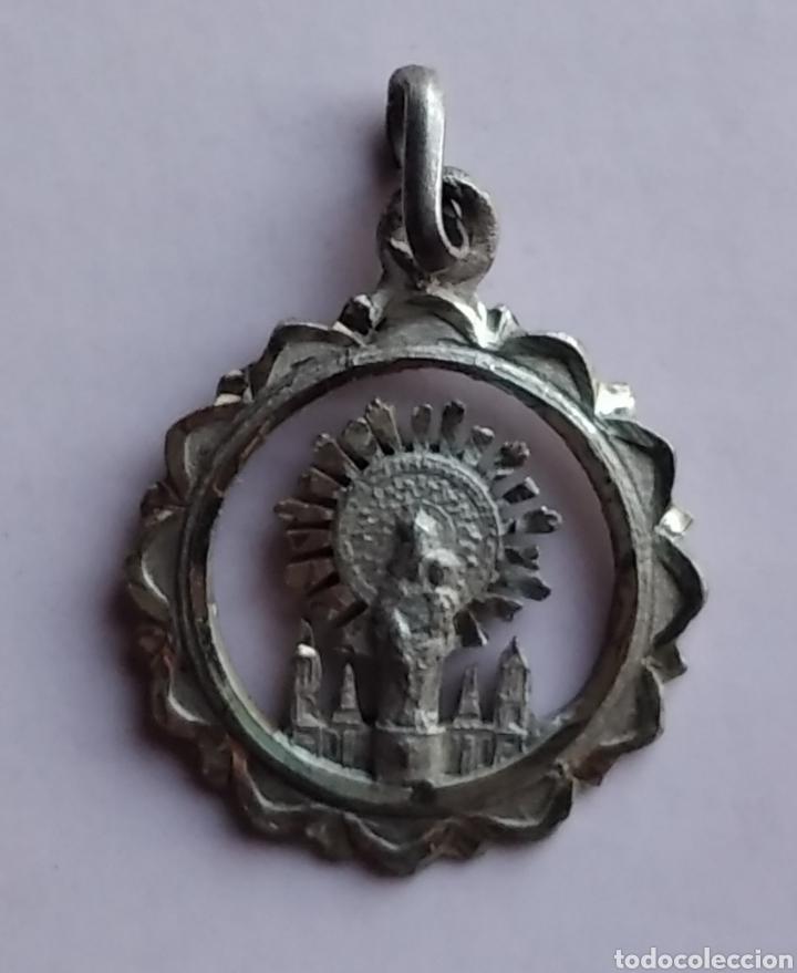 Antigüedades: Medalla religiosa antigua plata nuestra señora del Pilar virgen 16 x 21 mm - Foto 2 - 212217666