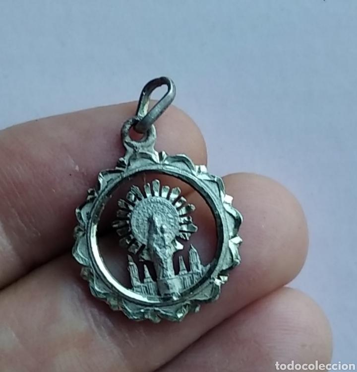 MEDALLA RELIGIOSA ANTIGUA PLATA NUESTRA SEÑORA DEL PILAR VIRGEN 16 X 21 MM (Antigüedades - Religiosas - Medallas Antiguas)