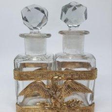 Antigüedades: MUY BONITA PAREJA DE FRASCOS DE PERFUME DE EPOCA IMPERIO,S. XIX. Lote 212253040