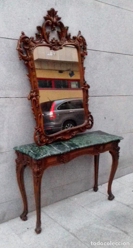 Antigüedades: Consola con espejo en madera tallada y tapa de marmol verde - Foto 2 - 212254117