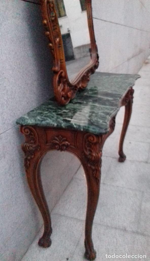 Antigüedades: Consola con espejo en madera tallada y tapa de marmol verde - Foto 3 - 212254117