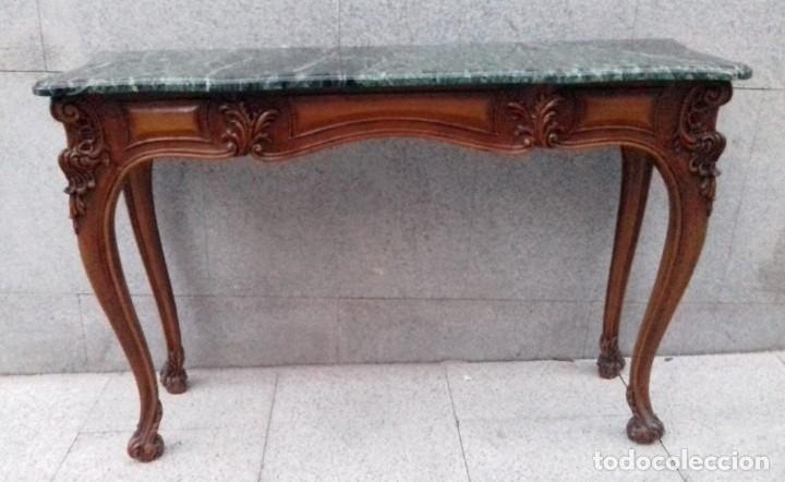 Antigüedades: Consola con espejo en madera tallada y tapa de marmol verde - Foto 5 - 212254117