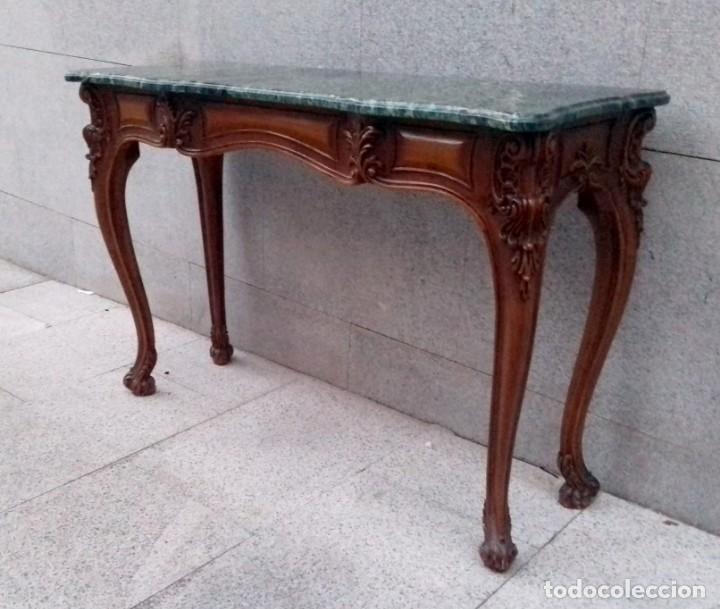 Antigüedades: Consola con espejo en madera tallada y tapa de marmol verde - Foto 6 - 212254117